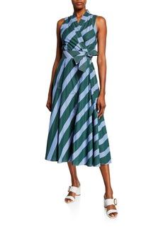 Tory Burch Candy Stripe Sleeveless Poplin Wrap Dress