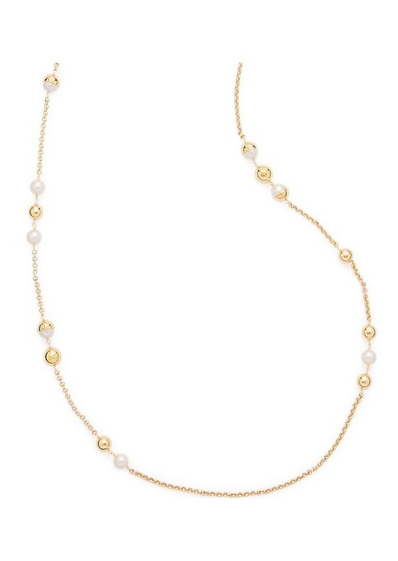 Tory Burch Capped Crystal Pearly Necklace mHKbWQVJa
