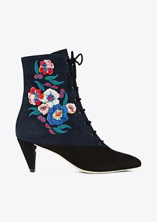 CASSIDY LACE-UP EMBROIDERED BOOTIE