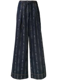 Tory Burch chain link-jacquard wide-leg jeans