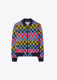 Tory Burch CHECKERED MESH BOMBER JACKET