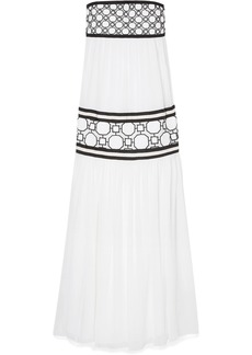 Tory Burch Christie Grosgrain And Guipure Lace-trimmed Silk-georgette Maxi Dress