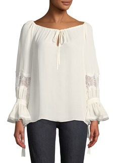 Tory Burch Christy Tie Boat-Neck Lace-Inset Long-Sleeve Silk Blouse