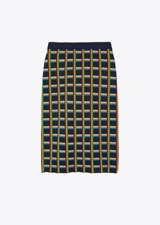 Tory Burch Circuit-Plaid Tech Knit Skirt