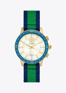 Tory Burch Collins Hybrid Smartwatch, Grosgrain/Ivory/Blue/Gold-Tone, 38 MM X 45 MM