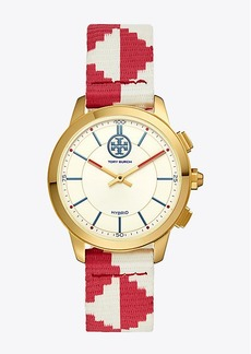 Tory Burch COLLINS HYBRID SMARTWATCH, RED/IVORY/LUGGAGE/GOLD-TONE, 38 MM