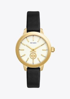 Tory Burch COLLINS WATCH, BLACK LEATHER/STAINLESS STEEL, 38 MM