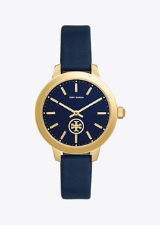Tory Burch COLLINS WATCH, NAVY LEATHER/STAINLESS STEEL, 38 MM