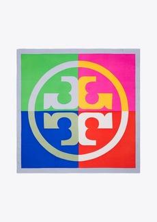 Tory Burch Color-Block Silk Square Scarf