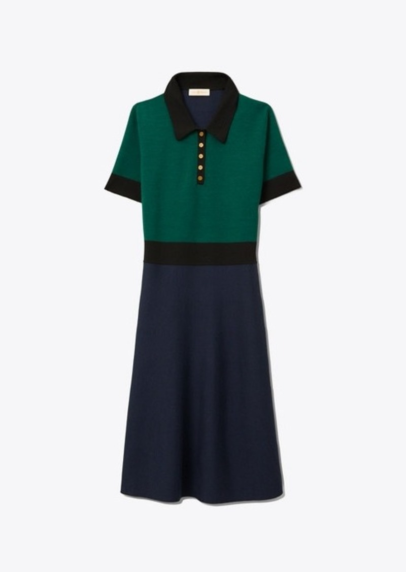 Tory Burch COLOR-BLOCK SWEATER DRESS