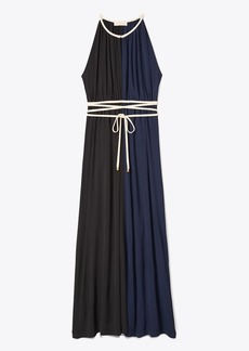 Tory Burch Color-Block Tie-Waist Maxi Dress