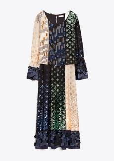 Tory Burch COLOR-BLOCK SEQUIN DRESS