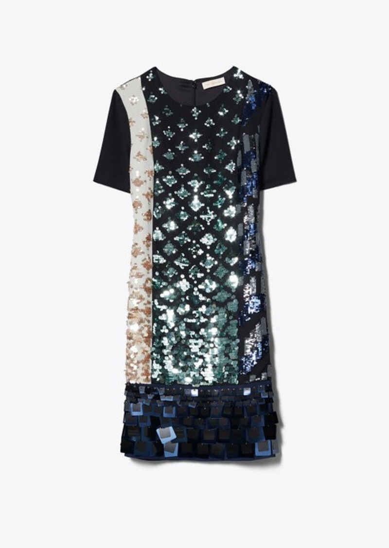 Tory Burch COLOR-BLOCK SEQUIN T-SHIRT DRESS