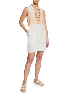 Tory Burch Colorblock Embroidered Sleeveless Tunic Dress