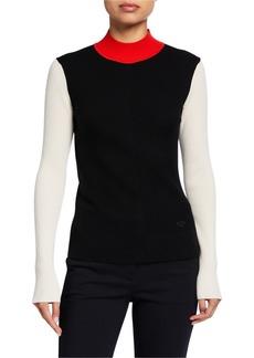 Tory Burch Colorblock Mock-Neck Sweater