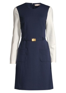 Tory Burch Colorblock Ponte A-Line Dress