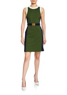 Tory Burch Colorblock Sleeveless Ponte Dress with Belt