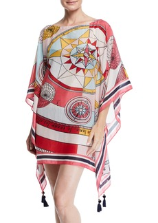 Tory Burch Constellation Bateau-Neck Beach Caftan Coverup w/ Tassels