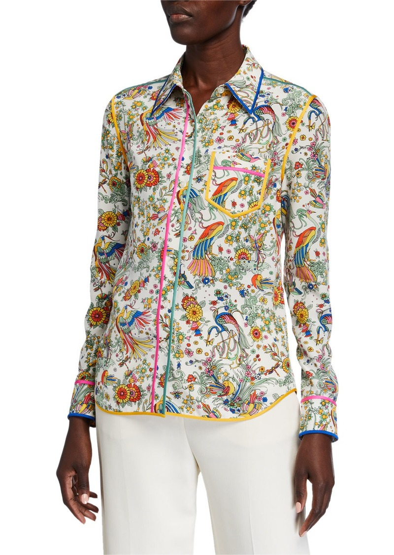 Tory Burch Contrast Binding Long-Sleeve Printed Button-Down Shirt