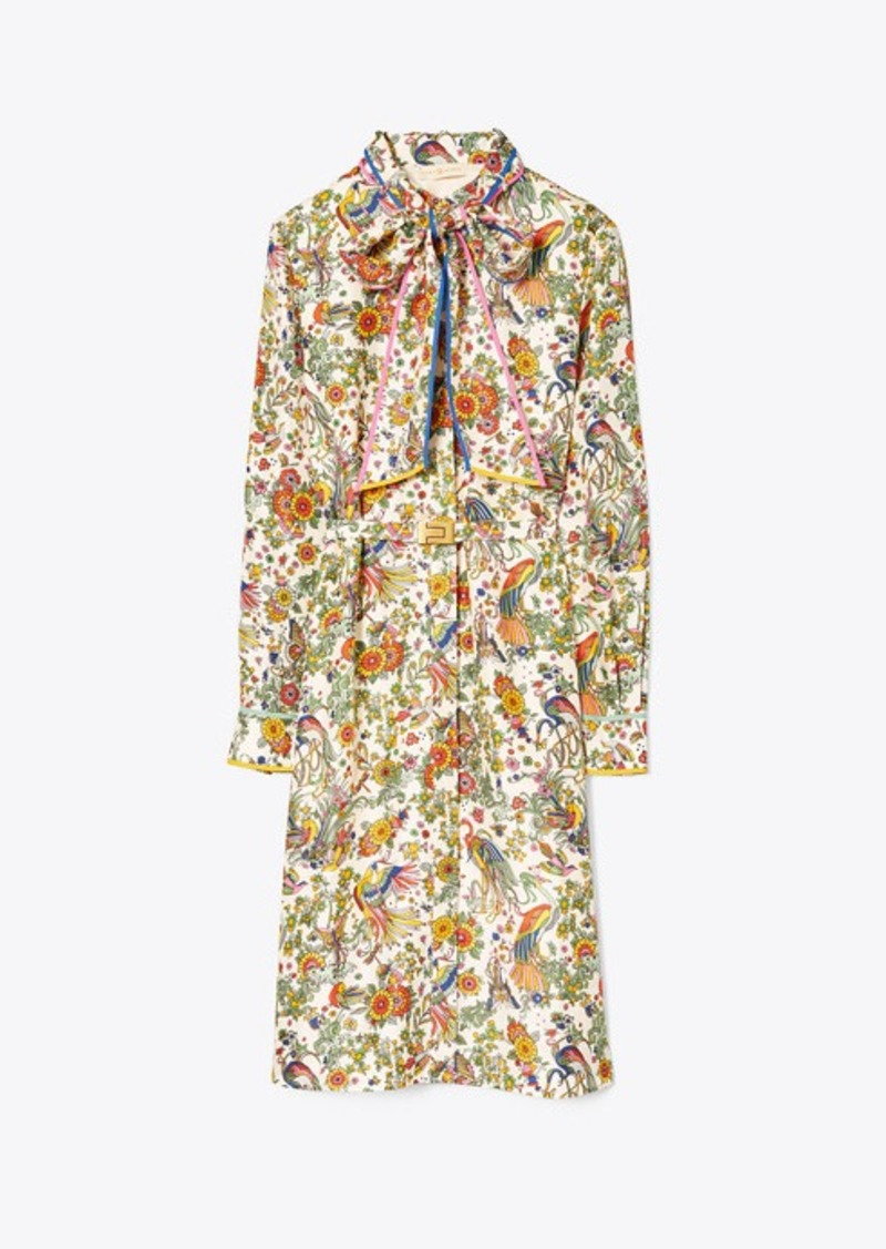 Tory Burch CONTRAST-BINDING PRINTED SHIRTDRESS