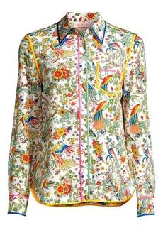 Tory Burch Contrast-Binding Printed Silk Blouse