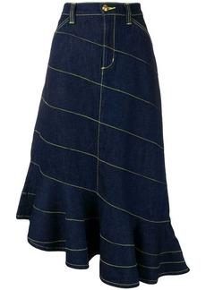 Tory Burch contrast stitching asymmetric skirt