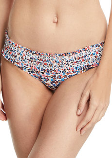 Tory Burch Costa Printed Hipster Smocked Swim Bikini Bottoms
