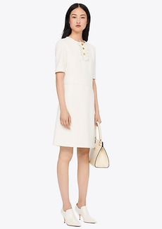 Tory Burch CREPE RUFFLE PLACKET DRESS