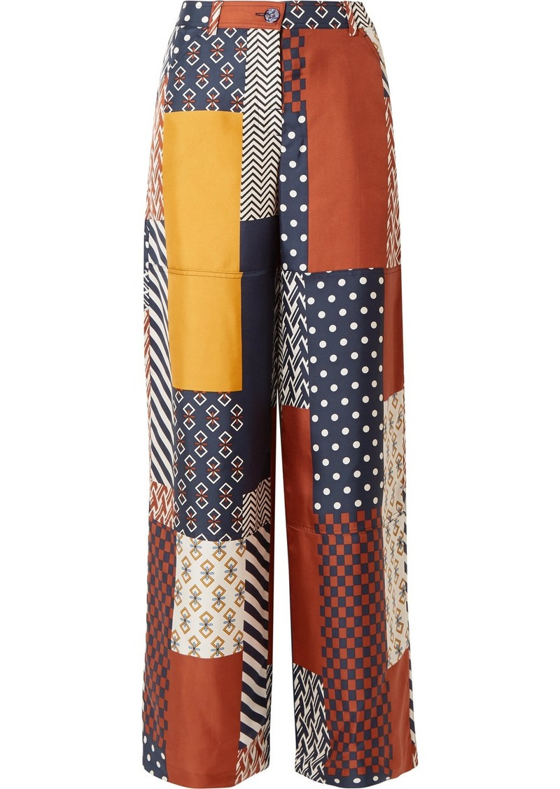 Tory Burch Denise Patchwork Printed Silk-twill Wide-leg Pants
