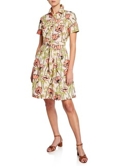 Tory Burch Derrick Floral Belted Flare Shirtdress