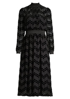 Tory Burch Devore Velvet Polka Dot Sheer Blouson Dress