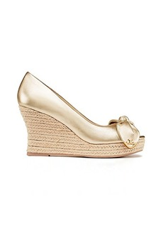 Tory Burch DORY METALLIC PEEP-TOE ESPADRILLE WEDGE