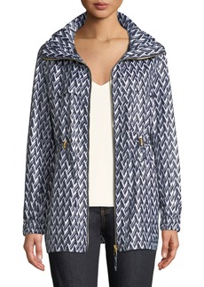 Tory Burch Eden T Lattice-Print Sport Rain Jacket