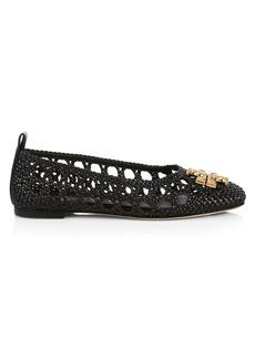 Eleanor Square-Toe Woven Leather Ballet Flats