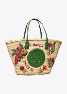 Tory Burch Ella Embroidered Straw Basket Tote Bag