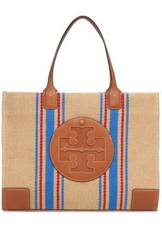 Tory Burch Ella Linen Stripe Tote Bag