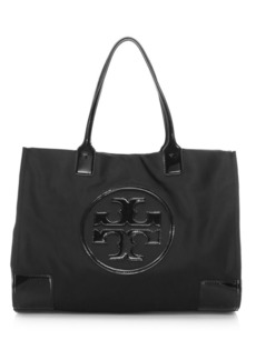 Tory Burch Ella Patent Leather-Trimmed Tote