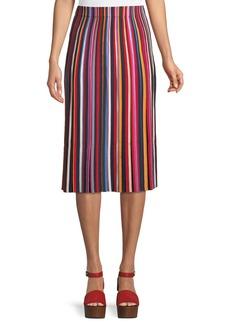 Tory Burch Ellie Long Skirt w/ Pleated Stripes