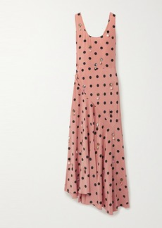 Tory Burch Embellished Draped Polka-dot Silk-georgette Maxi Dress