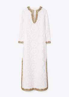 Tory Burch Embellished Lace Caftan Dress