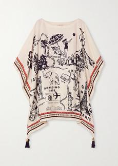 Tory Burch Embellished Printed Silk And Linen-blend Kaftan