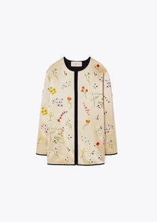 Tory Burch Embellished Quilted Satin Jacket