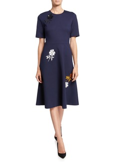 Tory Burch Embellished Short-Sleeve Ponte Dress