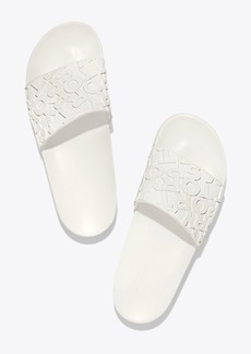 Tory Burch EMBOSSED BANNER SLIDE SANDALS