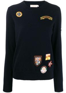 Tory Burch embroidered badge sweatshirt