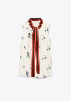 Tory Burch EMBROIDERED CONTRAST-BOW TOP