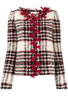 Tory Burch embroidered crystal buttons tweed jacket