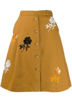 Tory Burch embroidered denim skirt