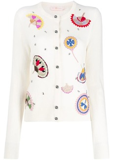 Tory Burch embroidered fine knit cardigan