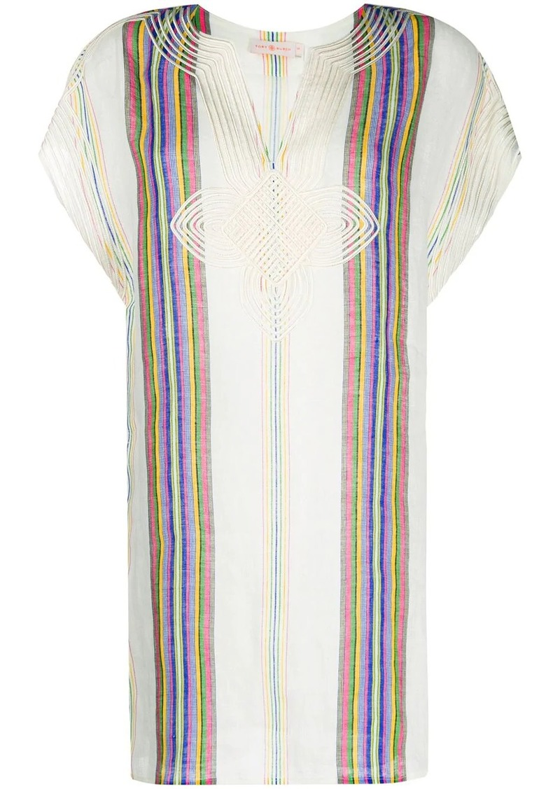 Tory Burch embroidered striped dress